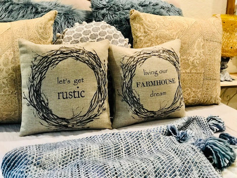 Farmhouse Rustic indoor-outdoor pillow
