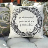 Copy of Positive vibes-Let that *** go rustic indoor outdoor pillow
