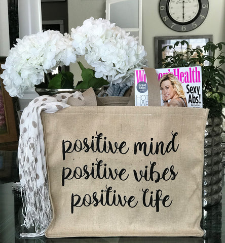 Yoga Positive Vibes Tan Linen Double Sided Tote Bag
