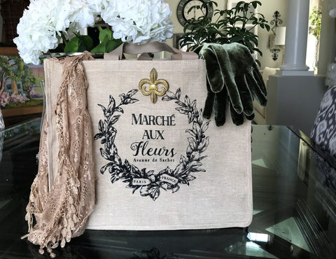 French Market Floral Tan Linen Double Sided Tote Bag with Gold and Silver Fleur di Lis Pins