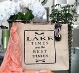 Lake Times Tan Linen Double Sided Tote Bag