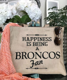 Sale-Denver Broncos Fan Tan Linen Double Sided Tote Bag