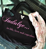 Foodie's Rejoice! Pink and black shopping tote bag