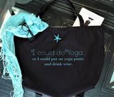 Drink champagne black tote bag with starfish necklace-pin