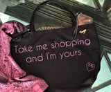 take me shopping black tote with black pump pinbag-only 3 left