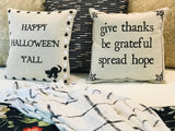 SALE! Happy Halloween y'all Fall-Autumn Linen Pillow with removable autumn leaf pin