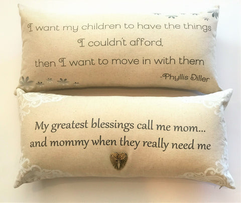 Mother's Day funny Great mommy quote pillow with removable gold angel wing necklace-pin