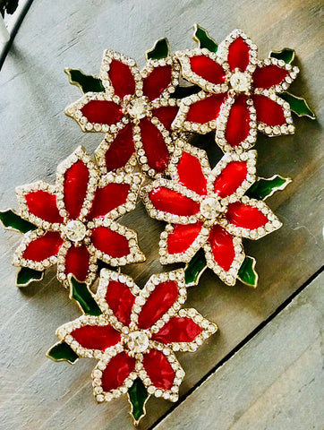 Crystal Holiday Poinsettia Brooch-pin-set of 2
