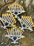 Crystal Menorah Pin-Brooch...for Hanukkah decorating