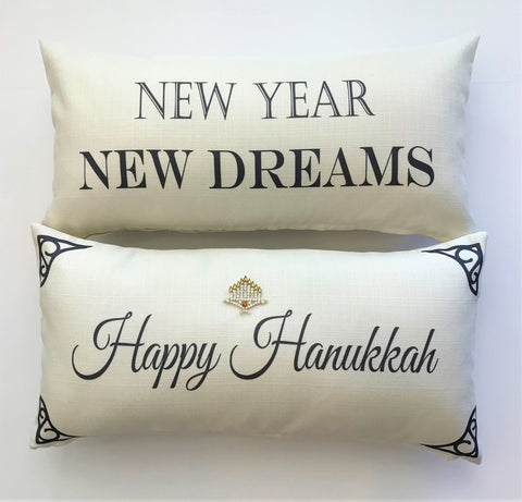 Ivory Happy Hanukkah-New Year Pillow with Menorah Pin