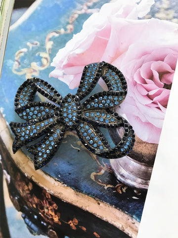 Something blue bow necklace-brooch-bouquet pin
