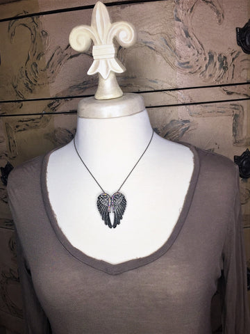 silver angel wing necklace-brooch-bouquet pin