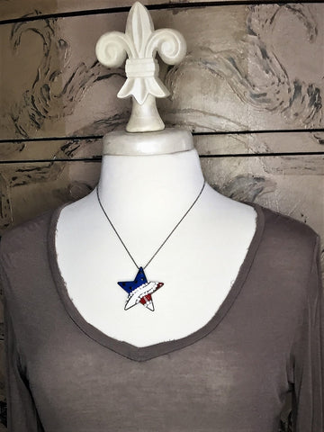red, white and blue patriotic star necklace-pin