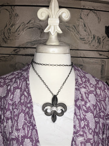 Silver fleur di lis necklace-brooch-bouquet pin