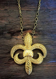 Gold fleur di lis necklace-brooch-bouquet pin