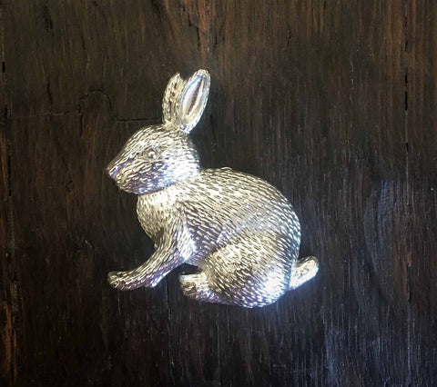 Silver Easter bunny rabbbit brooch-pin