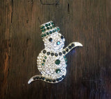 Crystal Snowman Holiday Brooch