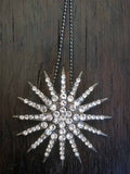 silver crystal starburst necklace-brooch-bouquet pin