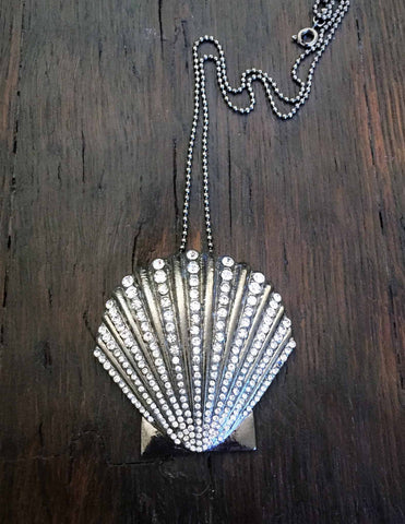 silver crystal shell necklace-brooch-bouquet pin