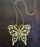 Gold butterfly necklace-brooch-bouquet pin