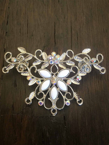 silver floral crystal brooch-bouquet pin