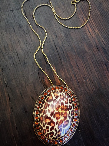 Leopard Print Necklace-Brooch-Pendant-Pin