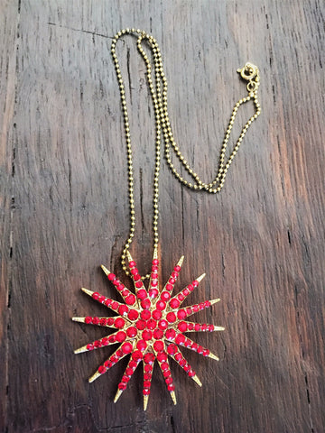ruby red starburst necklace-brooch-bouquet pin
