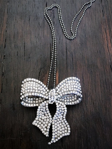 Silver Crystal Bow Pin