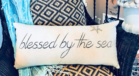 Blessed by the sea-Mermaids welcome pillow with gold beach jewels