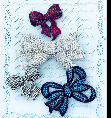 Set of 4 Bows-Necklace-Brooch-Bouquet Pin