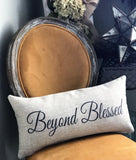 Happy Hanukkah-Beyond Blessed pillow with removable Menorah Pin.