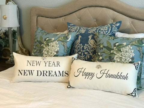 Ivory Happy Hanukkah-New Year Pillow with Two Menorah Pins