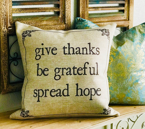 On Sale! Give thanks-be grateful fall indoor-outdoor pillow