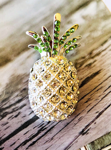Crystal pineapple jewelry brooch-bouquet pin