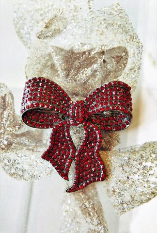 ruby red bow necklace-brooch-bouquet pin...2/$29.00 for a limited time.