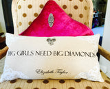 Big diamonds gift pillow for women with silver bow necklace-pin!