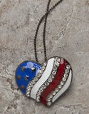 red, white and blue patriotic heart necklace-pin