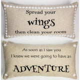 Evelyn Hope: Spread your wings and have an adventure pillow.