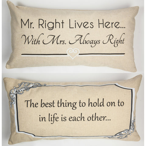 Evelyn Hope Mr Right Linen Pillow