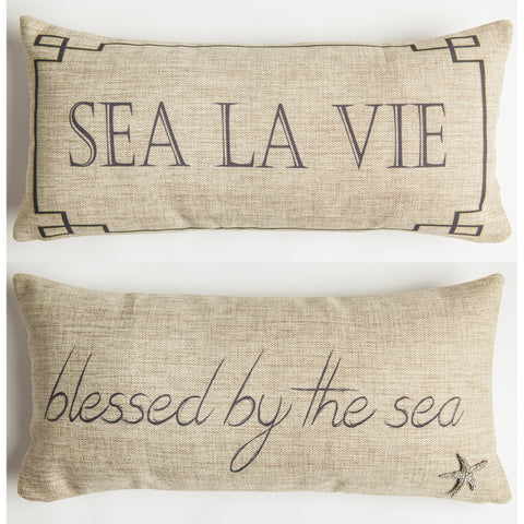 Evelyn Hope Sea Tweed Pillow