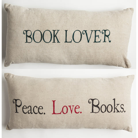 Book lover color linen pillow