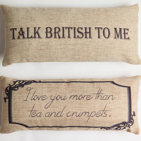 talk british to me pillow with removable purple crown necklace-pin