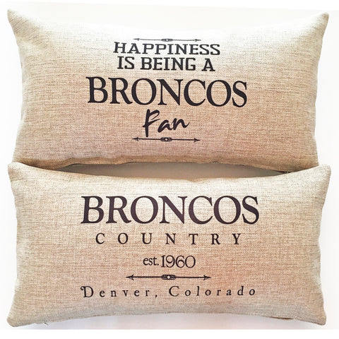Denver Indoor-Outdoor Broncos Doublesided Pillow