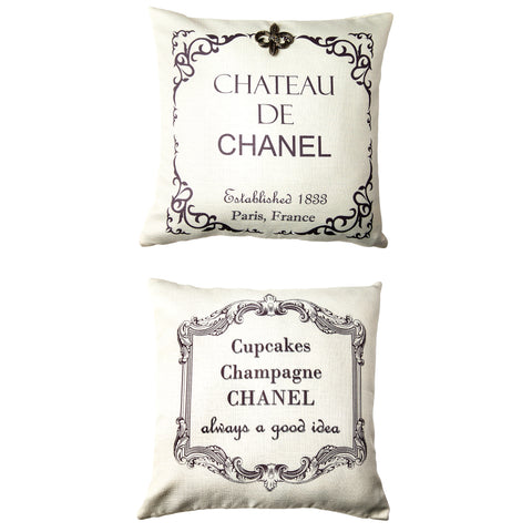 Chateau Chanel Ivory and Grey Pillow with Removable Silver Fleur di Lis Pin