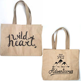Wild Heart Tan Linen Double Sided Tote Bag