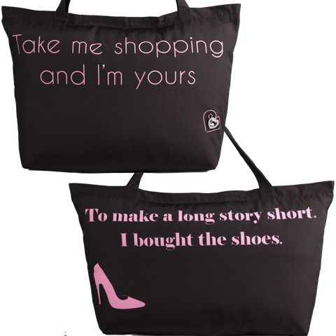 Sale-take me shopping black tote with black pump pinbag-only 3 left