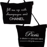 Chanel-Paris Black and White Washable Tote