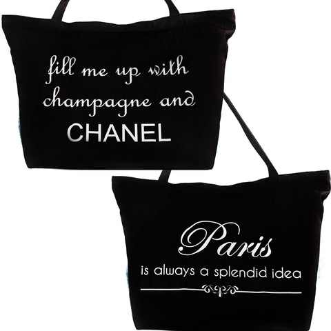Chanel-Paris Black and White Tote with silver bow and fleur di lis necklace pins