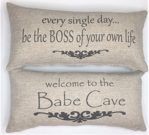 Babe Cave-Be your own boss tan pillow