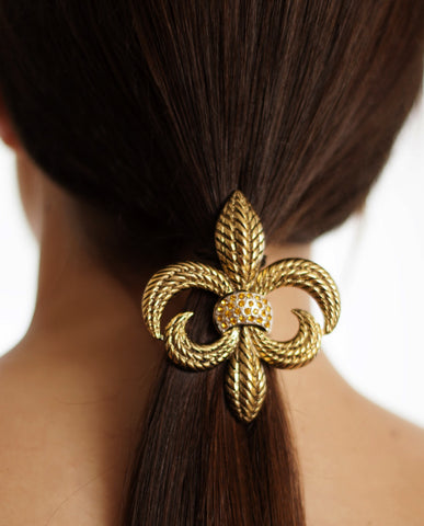 Evelyn Hope Gold Fleur Di Lis Necklace/Pin on hair